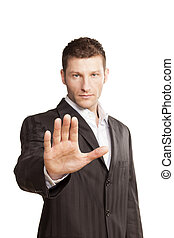 Business Man With Stop Hand Up On White Background