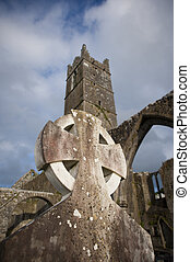 celtic monastery - celtic ruins and cemetery of Claregalway...