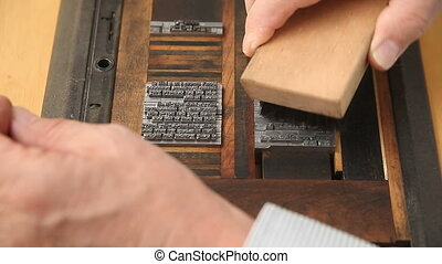 printer cleaning metal type - letterpress printer brushes...