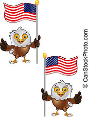 Bald Eagle Character - 6 - A vector illustration on a...