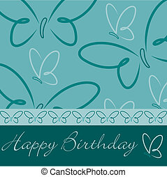 Happy Birthday - Hand drawn Happy Birthday butterfly card in...