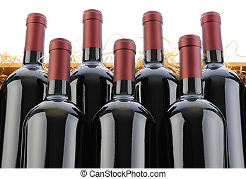 Cabernet Sauvignon Wine Bottles in Crate with Straw -...