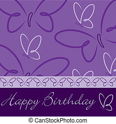 Happy Birthday - Purple hand drawn Happy Birthday butterfly...