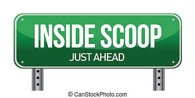 Inside Scoop Green Road Sign illustration design over white