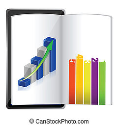 Tablet showing a spreadsheet graph