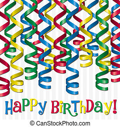 Happy Birthday! - Curling ribbon inspired birthday card in...