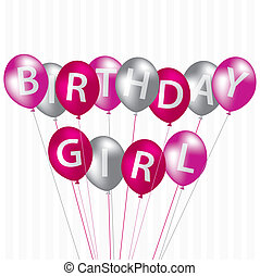 Happy Birthday! - Birthday Girl pink balloon card in vector...