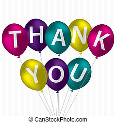 "Thank You! - Bright balloon bunch ""Thank You"" card in vector..."