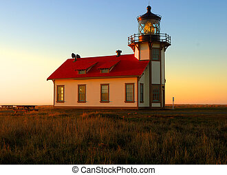 Cabrillo point lighthouse at dusk