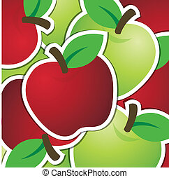 Fruit - Red and green apple sticker backgroundcard in vector...
