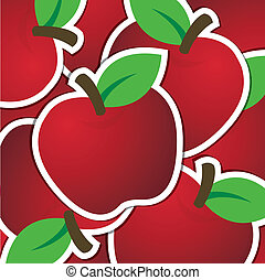 Fruit - Red apple sticker background/card in vector format.