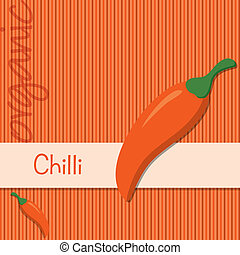 Vegetable - Bright organic chilli pepper card in vector...