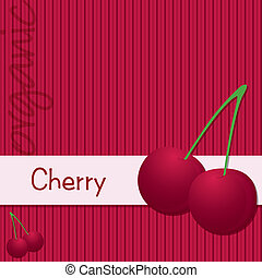 Fruit - Bright organic cherry card in vector format