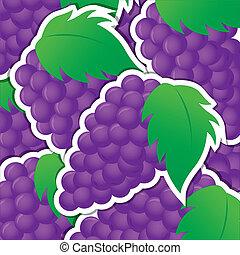 Fruit - Purple grape sticker background/card in vector...
