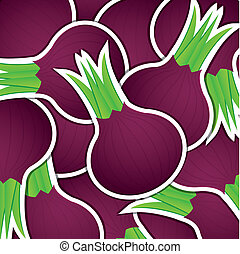Vegetable - Spanish onion sticker card in vector format.