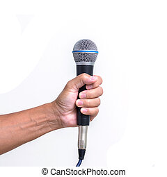 Man hand holding microphone isolated on white background