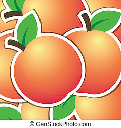 Fruit - Peach sticker backgroundcard in vector format