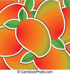 Fruit - Mango sticker backgroundcard in vector format