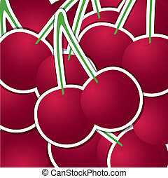 Fruit - Cherry sticker backgroundcard in vector format
