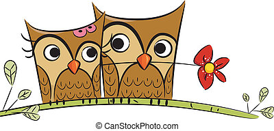 Owl Couple - Illustration of Owl Couples with the Male Owl...