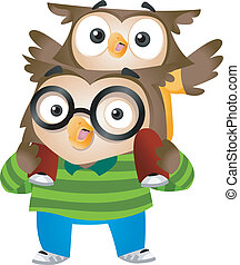 Owl Father and Son - Illustration of Owl Father and Son