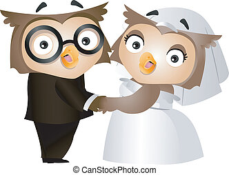 Owl Wedding - Illustration of a Bride and Groom Owl on their...