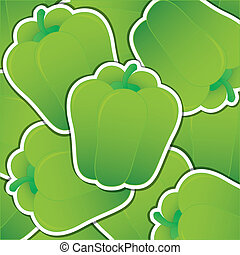 Vegetable - Green capsicum sticker card in vector format.