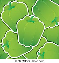 Vegetable - Green capsicum sticker card in vector format.