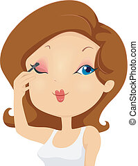 Girl Applying Eyeshadow Makeup on Eyelids - Illustration of...