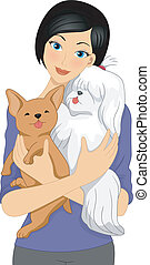 Dog Lover - Illustration of a Girl Cuddling a Shih Tzu and a...
