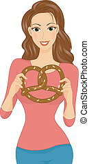 Pretzel Girl - Illustration of a Girl Holding a Large...
