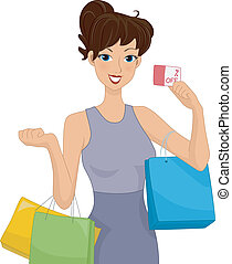 Shopping Discount - Illustration of a Female Shopper Holding...