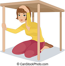 Earthquake Drill - Illustration of a Woman Hiding Under a...