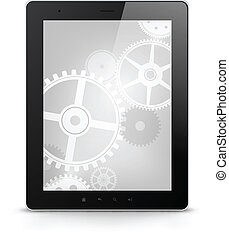 Digital Tablet Concept Isolated on White Background. Vector...