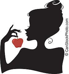 Apple Girl Silhouette