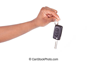 African American woman Hand Holding New Car Key, isolated on...