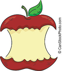 Bitten Apple - Illustration of a Red Apple Partially Bitten