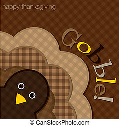 Happy Thanksgiving - Hiding turkey plaid Thanksgiving card...