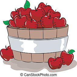 Apple Bucket - Illustration of a Wooden Bucket Full of Red...
