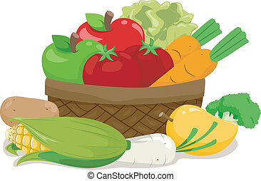 Fruits and Vegetables - Illustration of a Wooden Basket...
