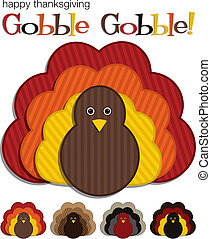 Happy Thanksgiving - Striped Turkey stickers in vector...