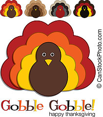 Happy Thanksgiving - Turkey stickers in vector format