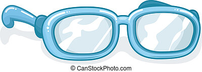 Eyeglasses - Illustration of a Pair of Blue Eyeglasses