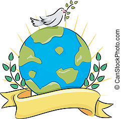 Peace on Earth - Illustration of a Dove Carrying an Olive...