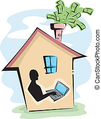 Online Business - Illustration of a Man Using a Computer to...