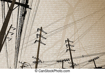 Communication - Silhouettes of telegraph poles and cables...