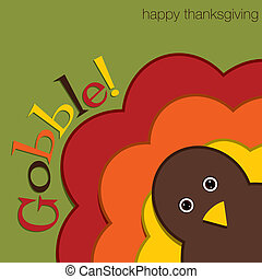 Happy Thanksgiving - Hiding turkey felt Thanksgiving card in...