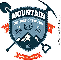 Mountain emblem - Mountain themed outdoors emblem with tools...