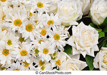 White flowers - Bunch of beautiful white fresh mixed flowers