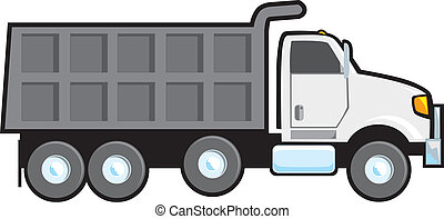 Dump Truck - A typical plain white blank American dump truck...